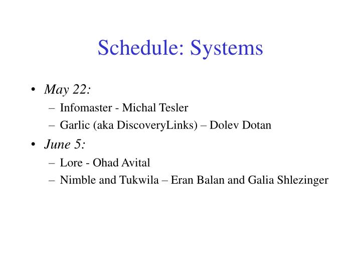 Schedule: Systems