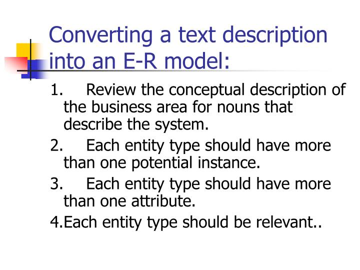 Converting a text description into an E-R model:
