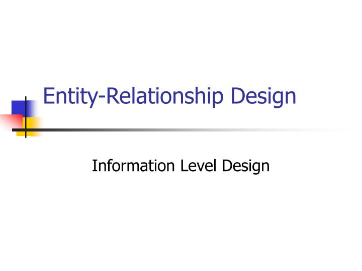 Entity relationship design