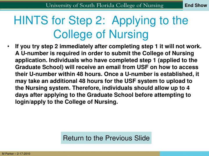 HINTS for Step 2:  Applying to the College of Nursing