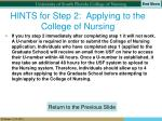 hints for step 2 applying to the college of nursing