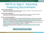 hints for step 3 submitting supporting documentation