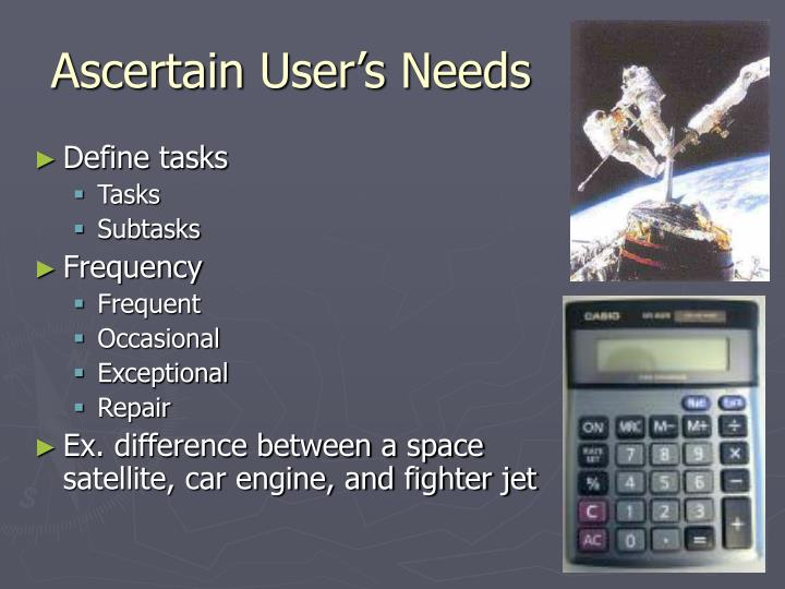 Ascertain User's Needs