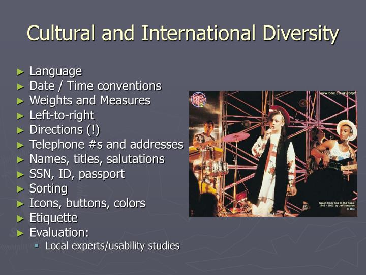 Cultural and International Diversity