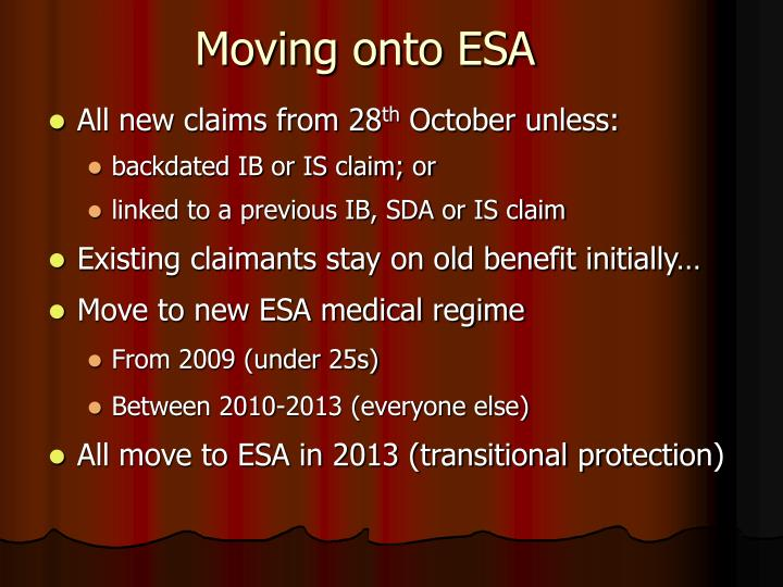 Moving onto ESA