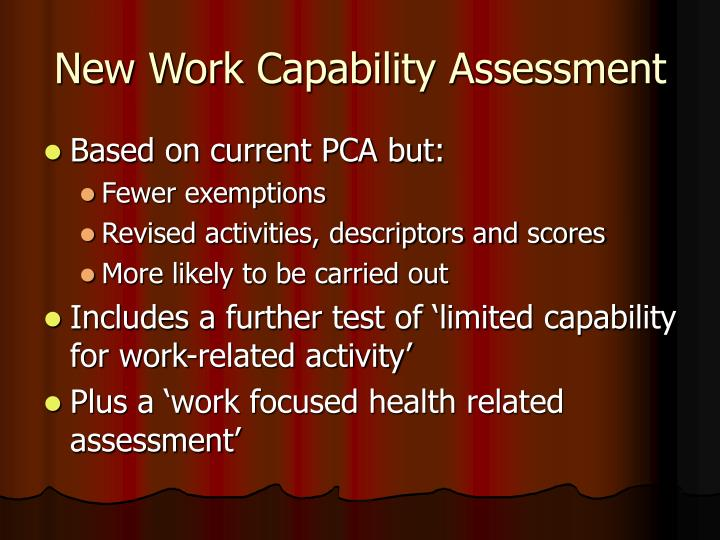 New Work Capability Assessment