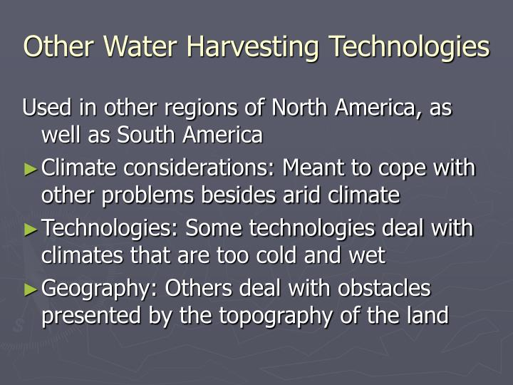 Other Water Harvesting Technologies