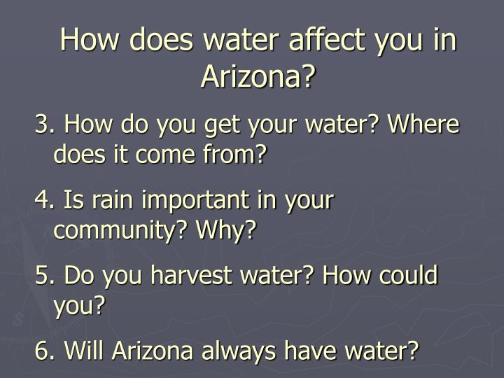 How does water affect you in Arizona?