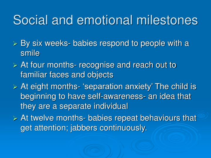 Social and emotional milestones