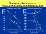 developing nations concerns export price instability for a developing nation