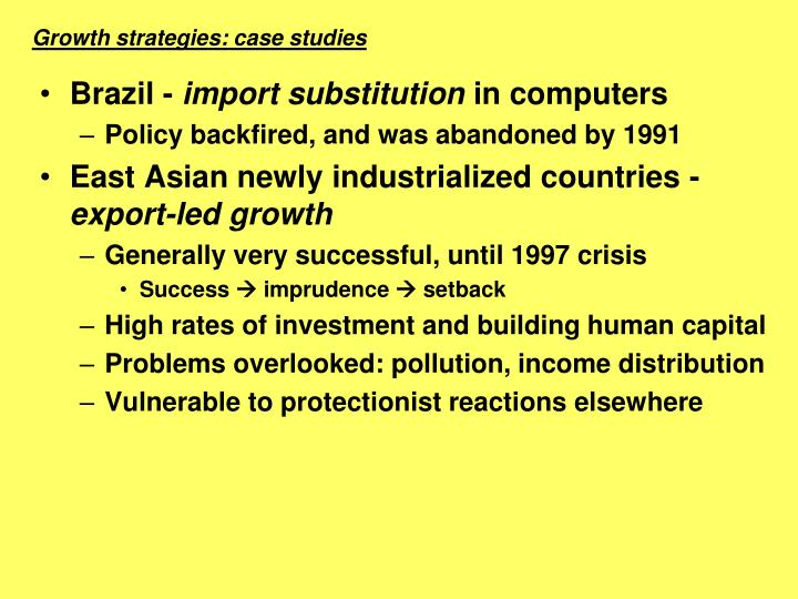 Growth strategies: case studies