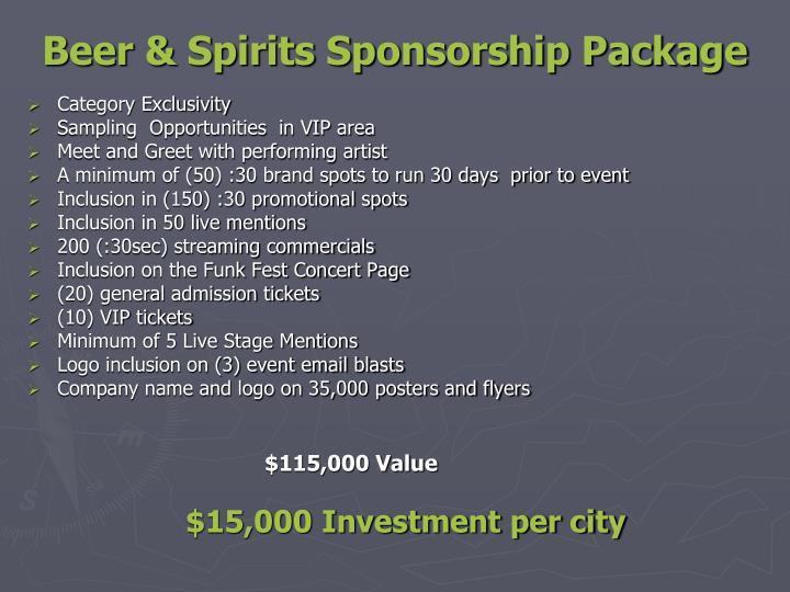 Beer & Spirits Sponsorship Package