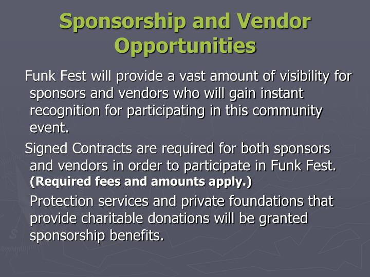 Sponsorship and Vendor Opportunities