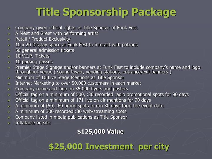 Title Sponsorship Package