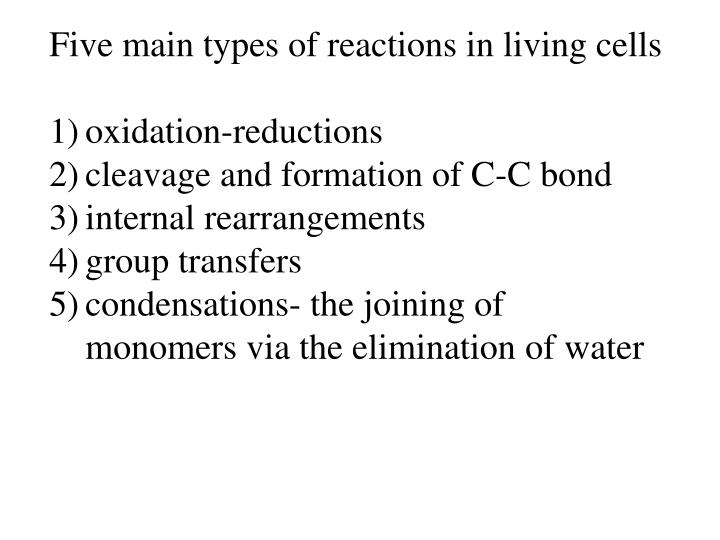 Five main types of reactions in living cells