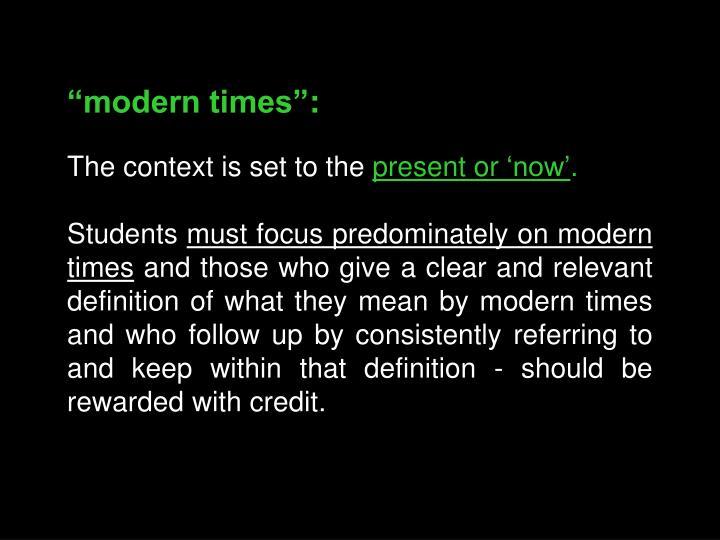 """modern times"":"