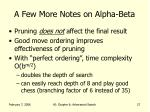 a few more notes on alpha beta
