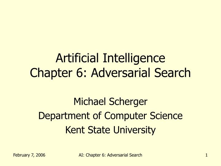 Artificial intelligence chapter 6 adversarial search