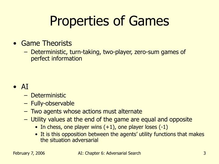 Properties of games