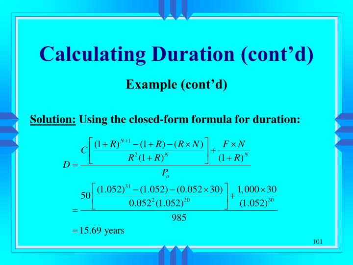 Calculating Duration (cont'd)