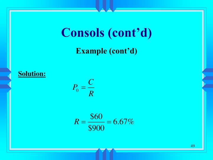 Consols (cont'd)