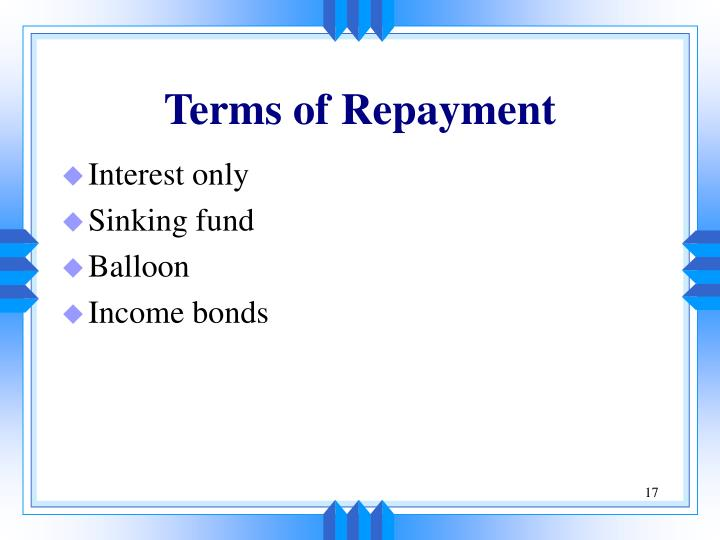 Terms of Repayment