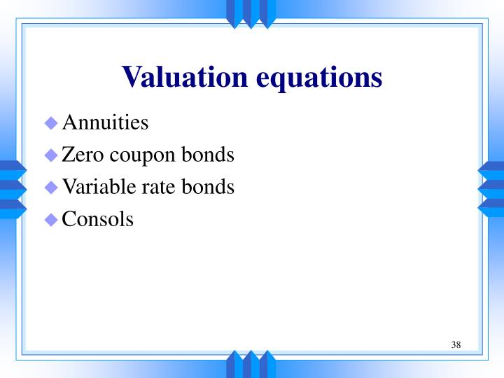 Valuation equations