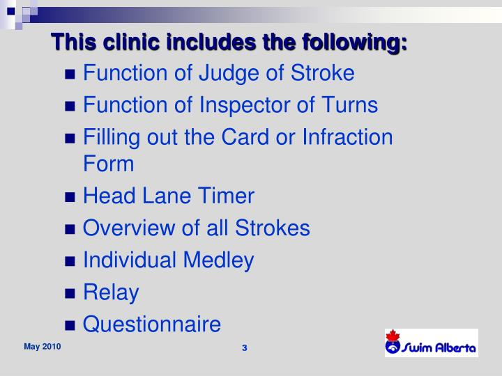 This clinic includes the following: