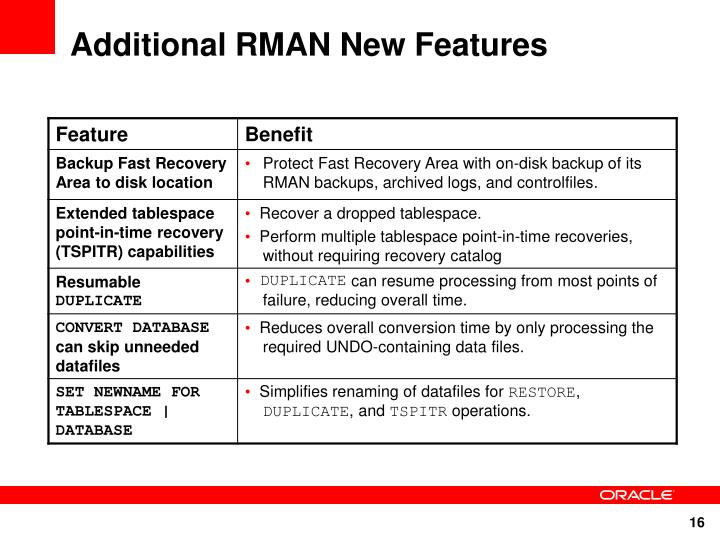 Additional RMAN New Features