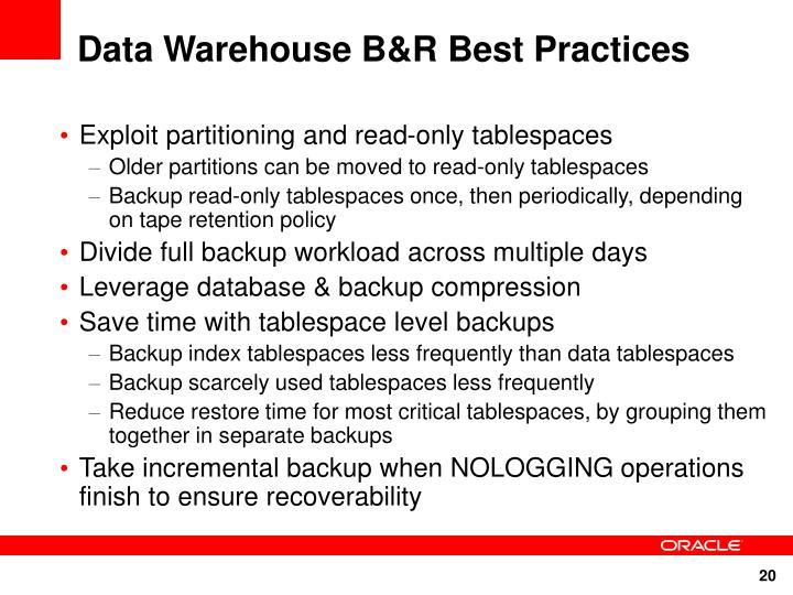 Data Warehouse B&R Best Practices