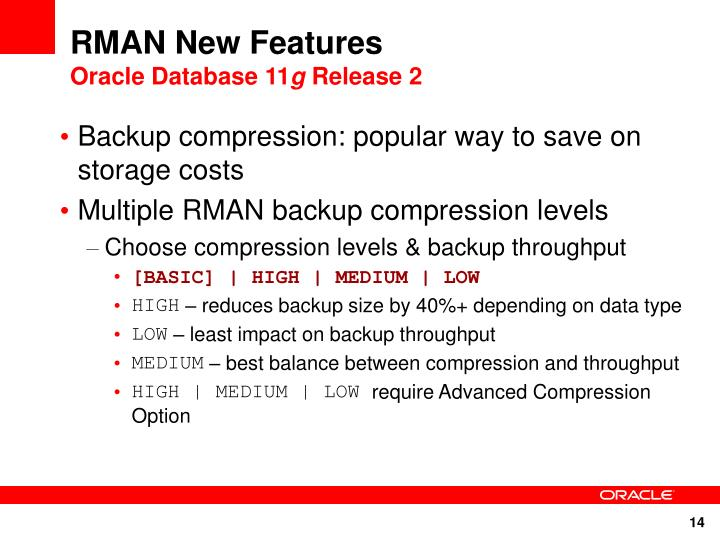 RMAN New Features