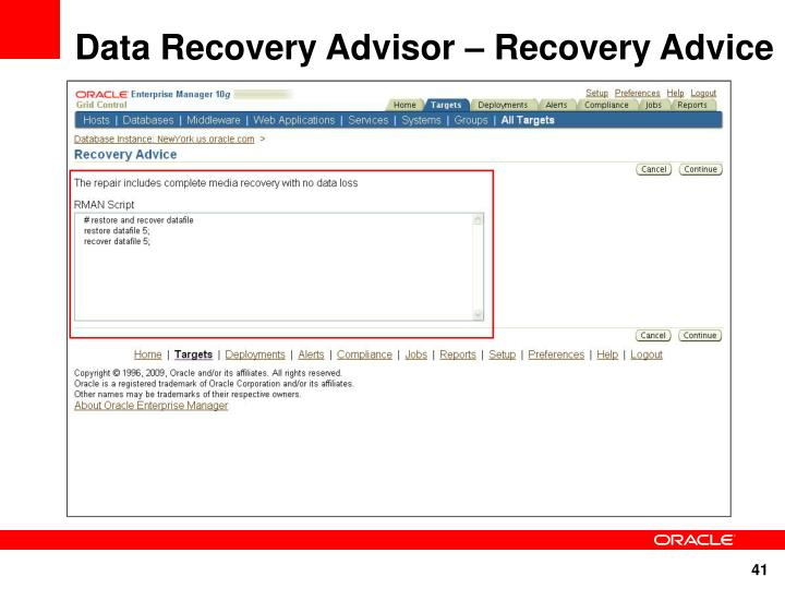 Data Recovery Advisor – Recovery Advice