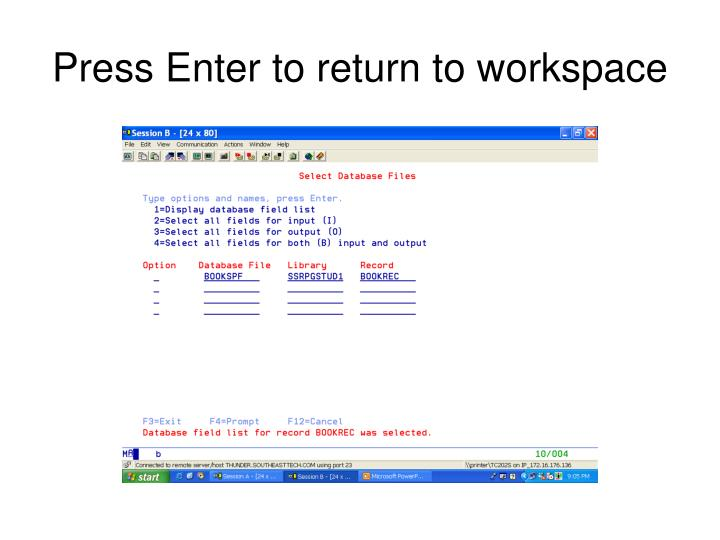 Press Enter to return to workspace