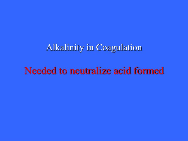 Alkalinity in Coagulation