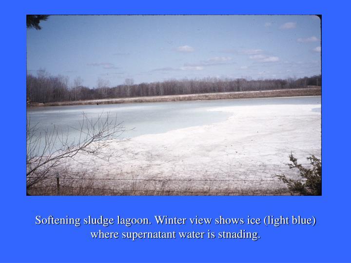 Softening sludge lagoon. Winter view shows ice (light blue) where supernatant water is stnading.