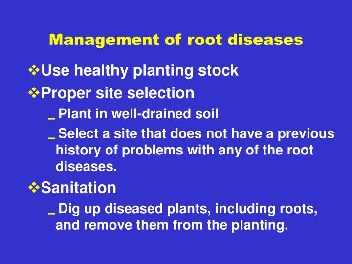 Management of root diseases