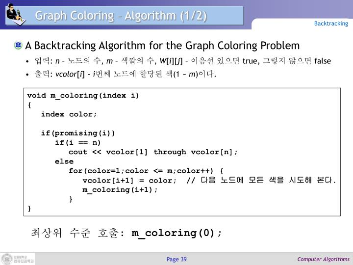 Graph Coloring – Algorithm (1/2)
