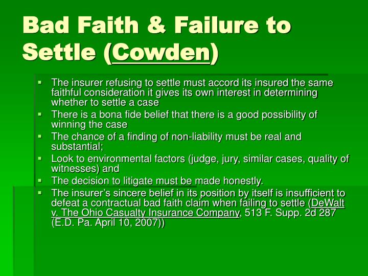 Bad Faith & Failure to Settle (