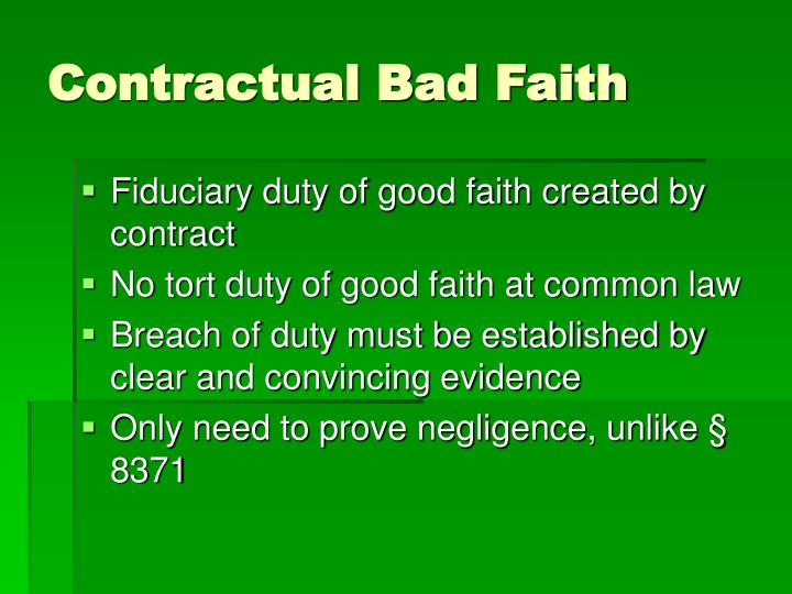 Contractual Bad Faith