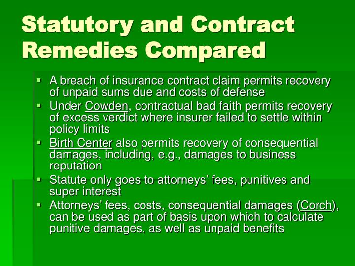 Statutory and Contract Remedies Compared
