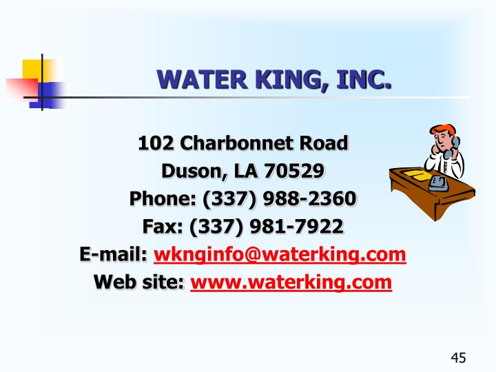 WATER KING, INC.