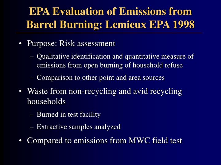 EPA Evaluation of Emissions from Barrel Burning: Lemieux EPA 1998