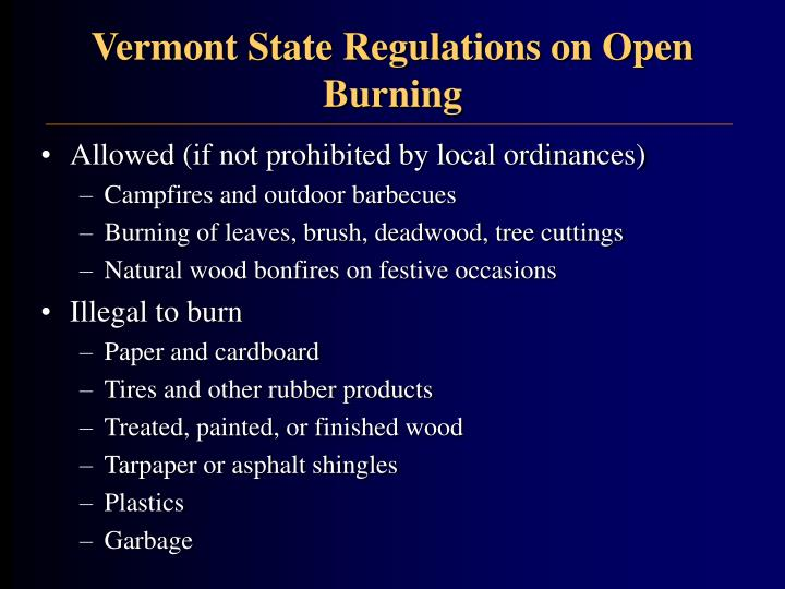 Vermont State Regulations on Open Burning