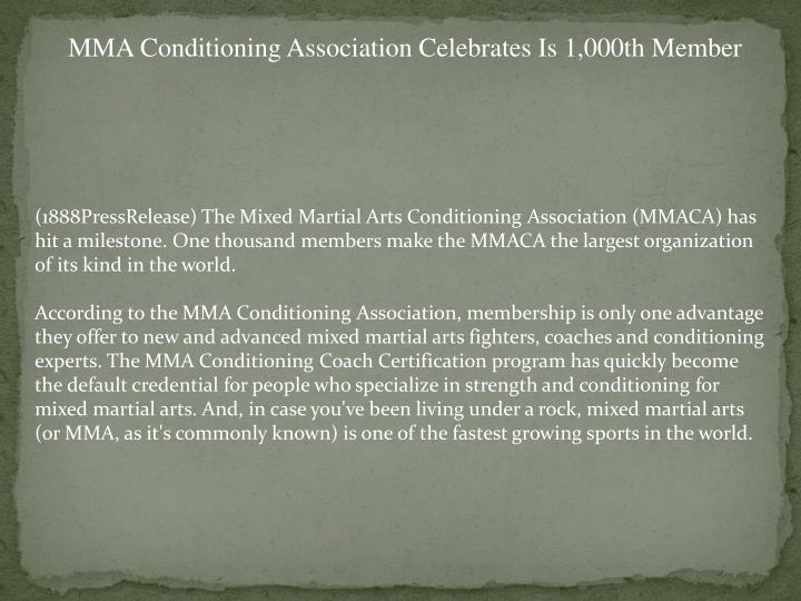 MMA Conditioning Association Celebrates Is 1,000th Member