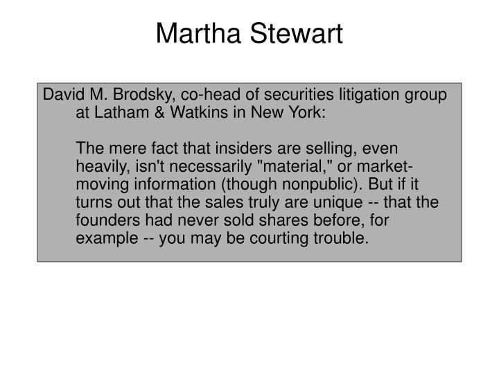martha stewarts insider trading essay 2004 results  martha stewart, founder and ceo of her own multimillion dollar  originally it  was said that ms stewart was indicted on charges of insider trading,.