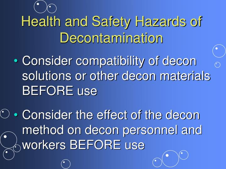 Health and Safety Hazards of Decontamination