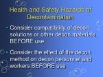 health and safety hazards of decontamination