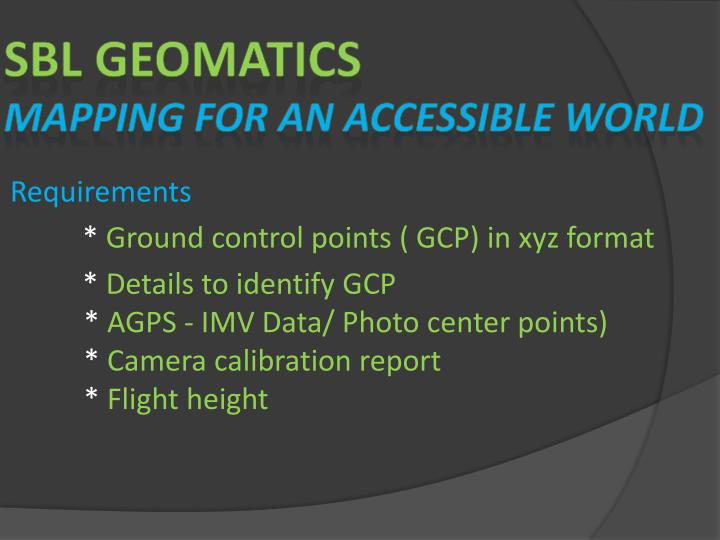 Sbl geomatics mapping for an accessible world