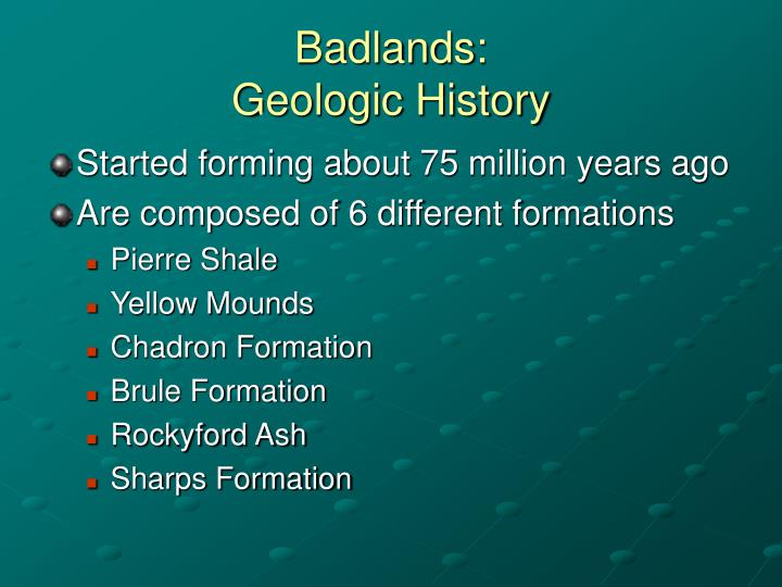 Badlands geologic history