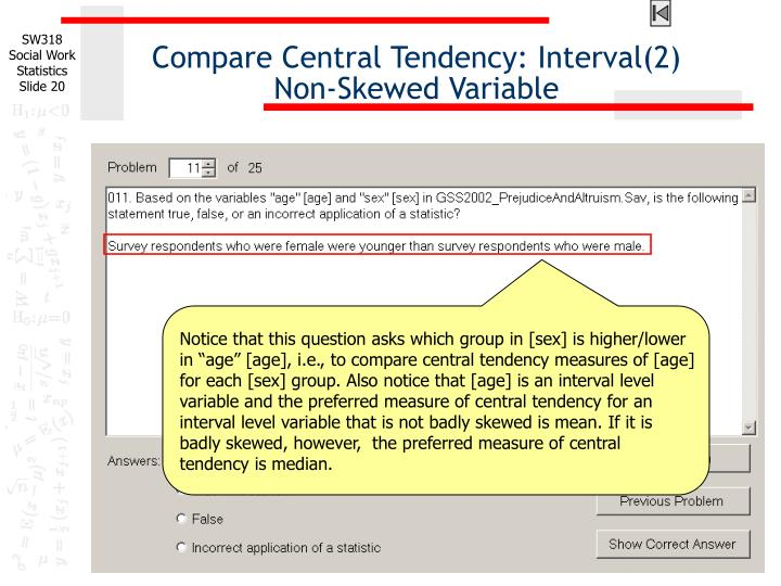 Compare Central Tendency: Interval(2)